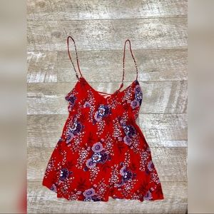 Red and purple free people cotton tank